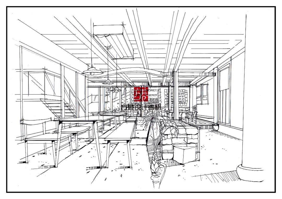 手绘线条在环境艺术空间中的表现 建筑环