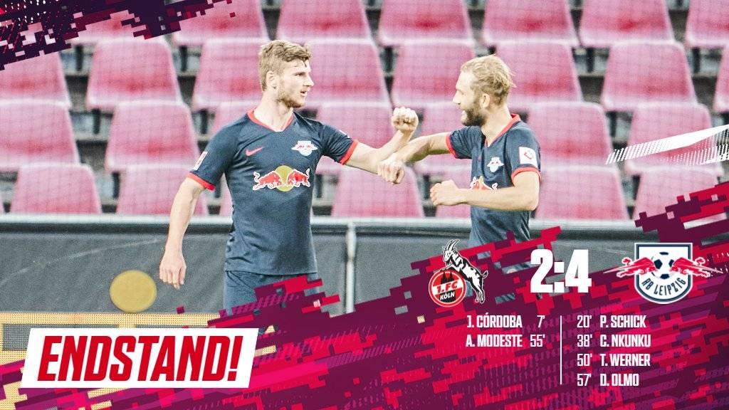 德甲-天海叛将破门维尔纳建功 莱比锡4-2逆转科隆