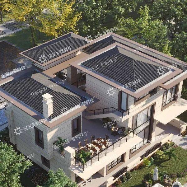 农村盖房子,看这栋拥有天井小院,花园阳台的乡村合院别墅设计