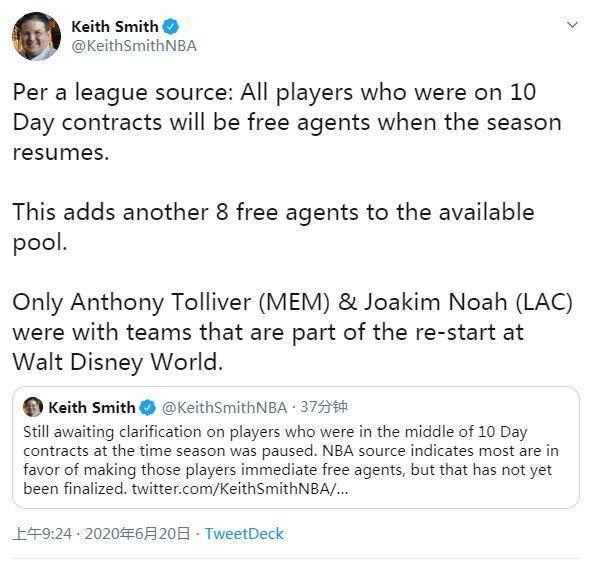 原创             湖人喜讯!曝签十天短约球员再度成为自由球员,诺阿已不属于快船