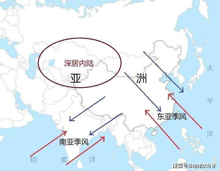 手绘简易亚洲地图轮廓