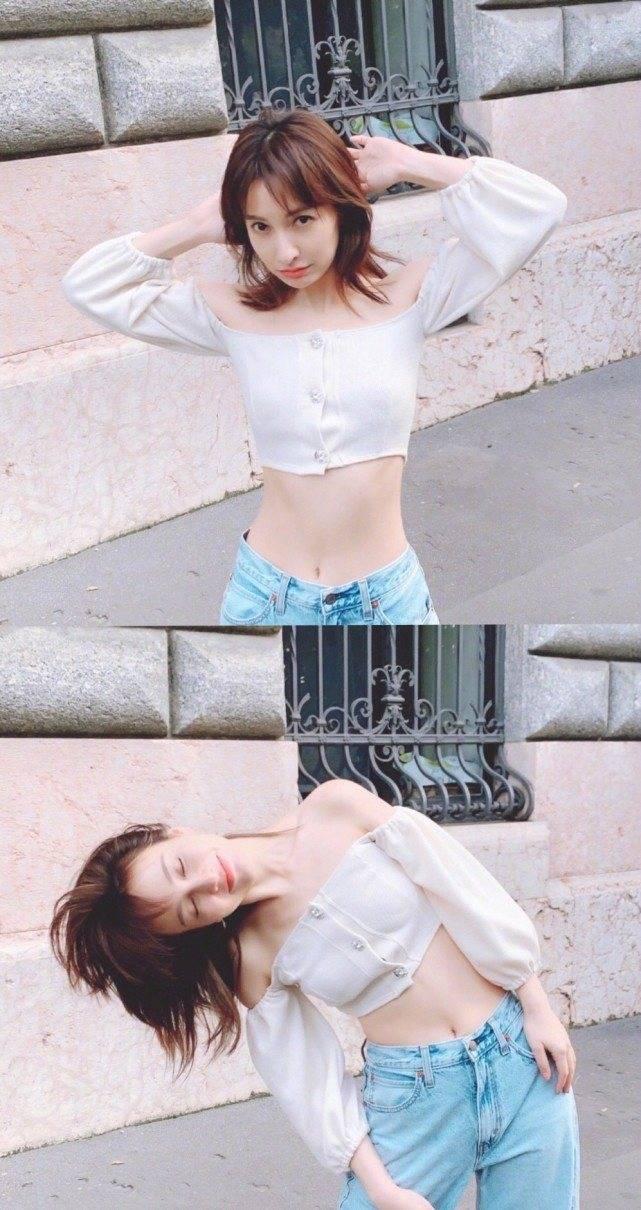 原创             吴昕社交平台晒美照,一身碎花蕾丝淡黄色长裙,甜美俏皮如初恋