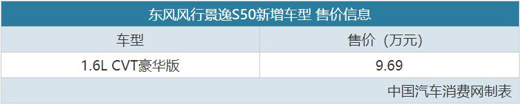 配有无级变速变速箱,广受欢迎的精益S50新款售价96,900英镑