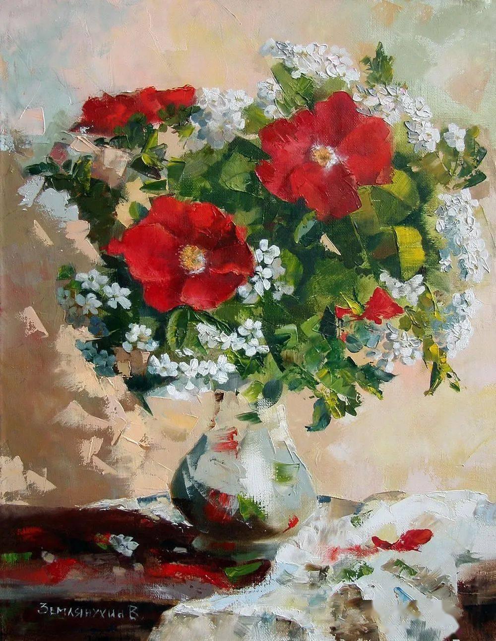 俄罗斯画家de油画与水粉的交融,不一样的花卉!