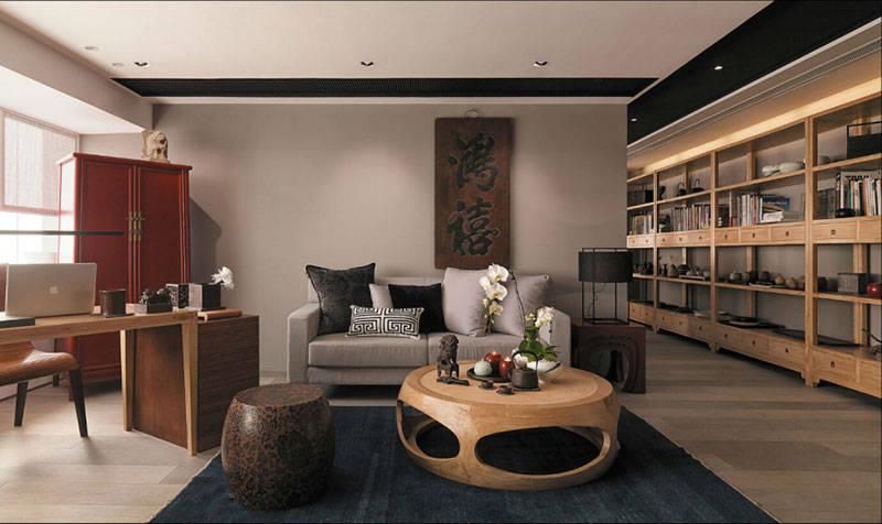 中式办公室装修设计质料主要以木质为主
