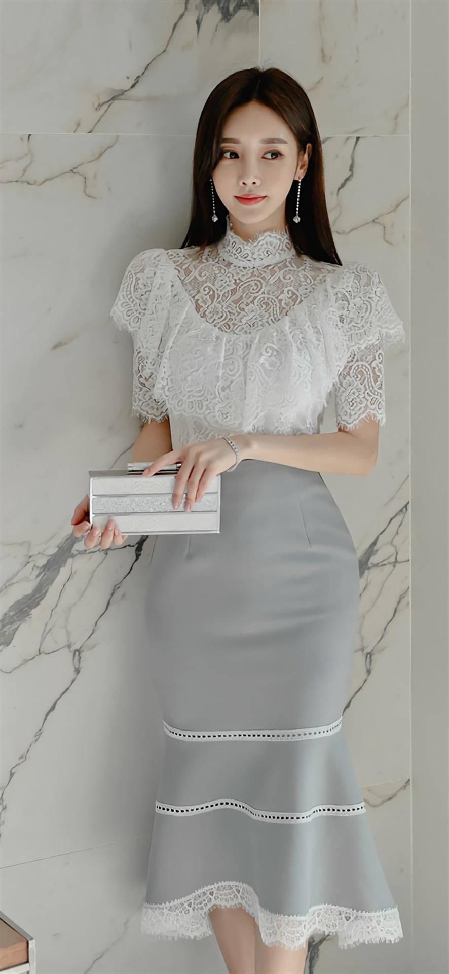 孙允珠时尚摄影连衣裙图集 白色蕾丝上衣搭配连衣裙 高贵又时尚!