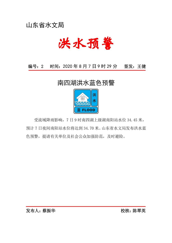 水位持续上涨,山东省水文局发布南四湖洪水蓝色预警
