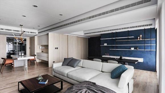 设计时尚高级的大户型,灰色文化石电视背景墙,开放式空间很大气