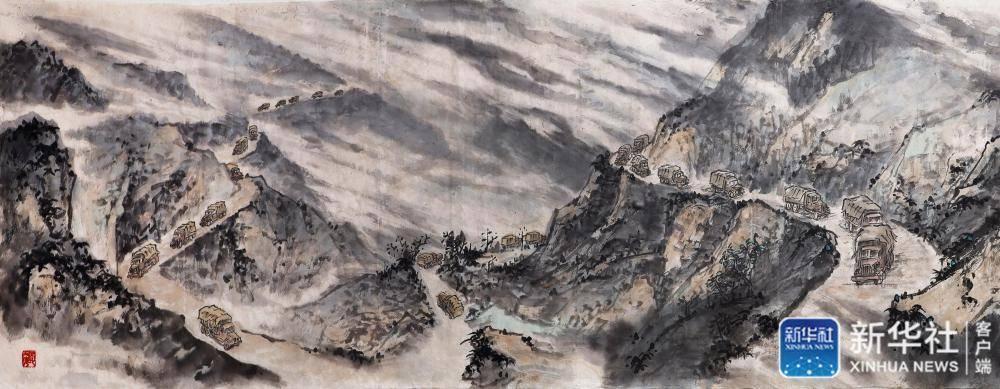 国画长卷《血肉之躯滇缅路》在龙陵展出