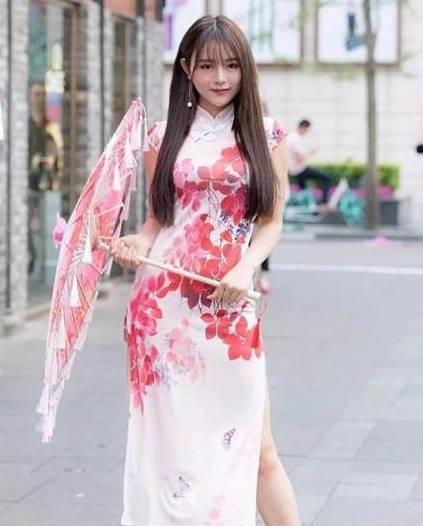 街拍:玉美人,旗袍裙,时尚典雅大方美