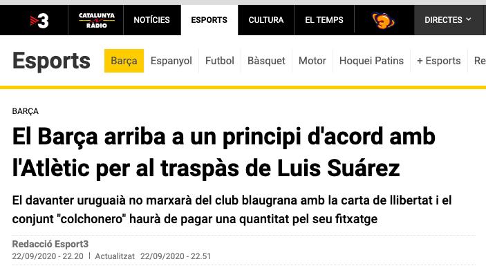 定了?曝马竞和巴萨已谈妥苏亚雷斯转会事宜,今朝只等球员颔首