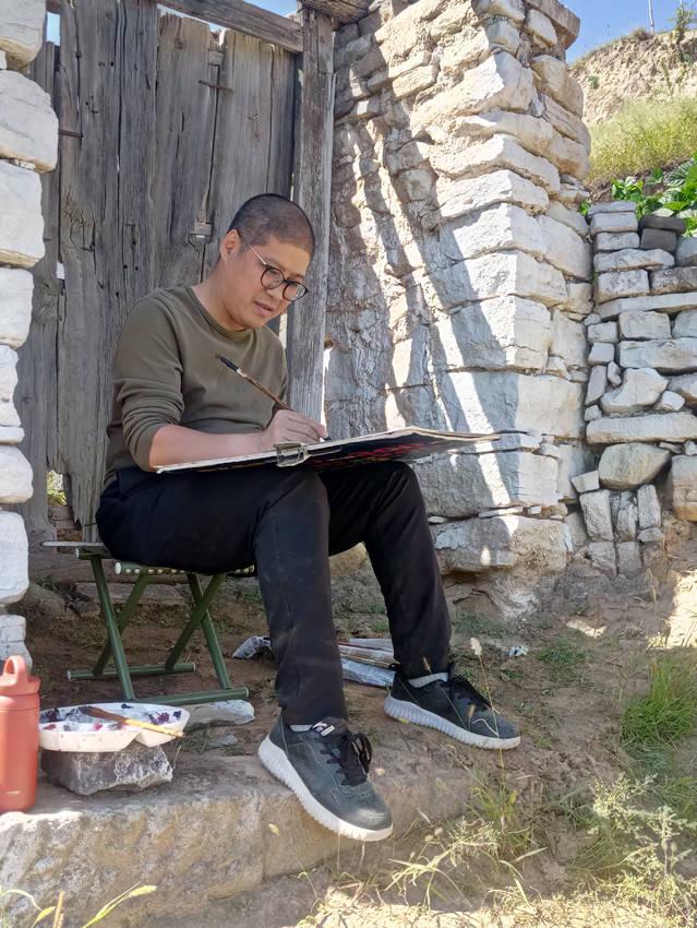 山水画家刘刚吕梁刘家坡写生作品赏析
