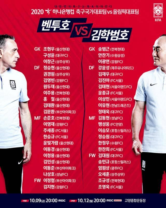 韩国国家队主教练保罗·本托张榜新一期集训