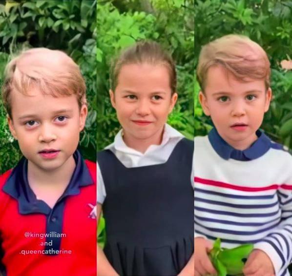 凯特三个孩子红白蓝主题配色礼服视频访