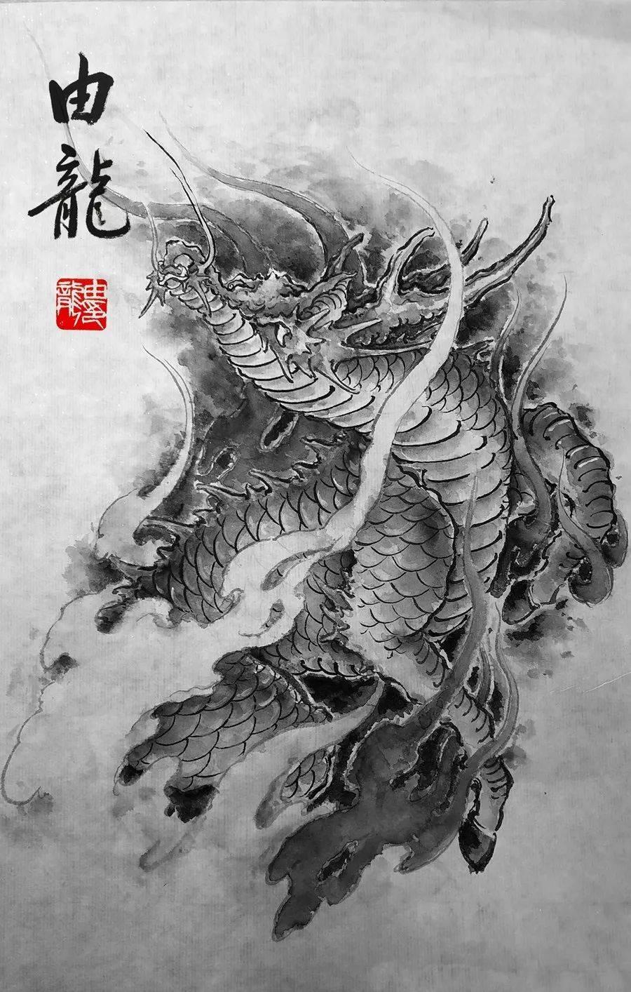 传统神兽造型设计,瑞兽麒麟纹身设计稿上海由龙纹身作品