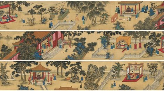 《御花园赏玩图》:明代皇帝御花园嬉戏
