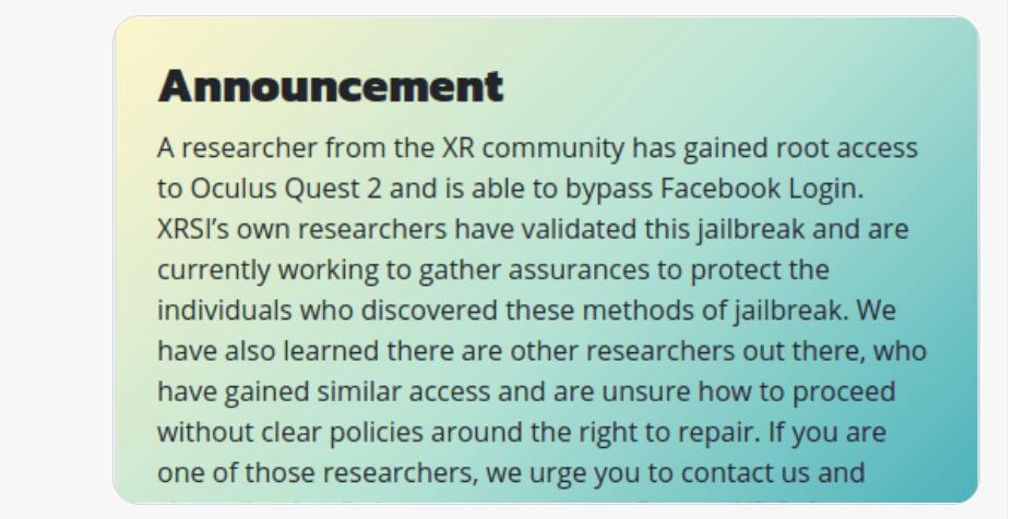 XRSI的『Oculus Quest 2越狱成功』被质疑是一场骗局