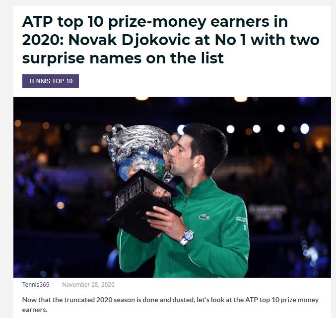 ATP2020奖金榜:德约榜首纳达尔第三 费德勒无缘前十