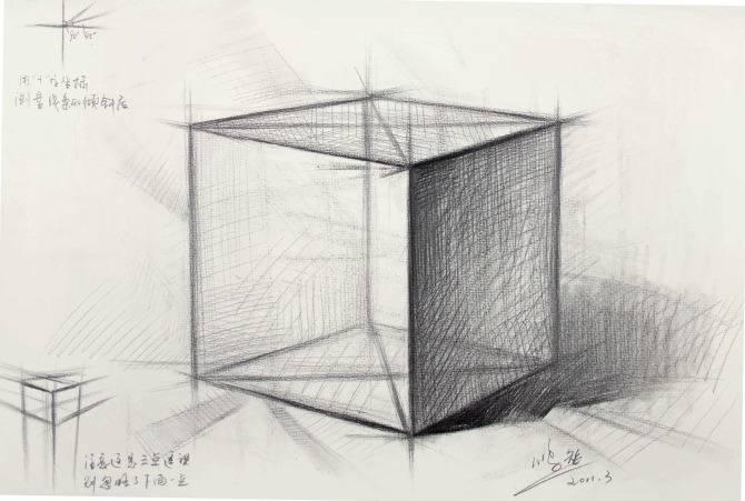 素描石膏像正方体如何画?怎么画好素描正方体? 教学教程-第1张