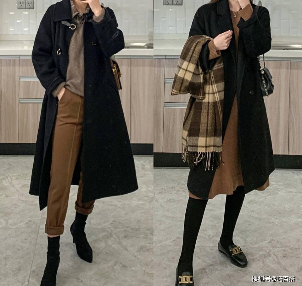 """原创             黑色呢大衣不愧是""""百搭之王"""",简单低调有格调,谁穿谁好看"""