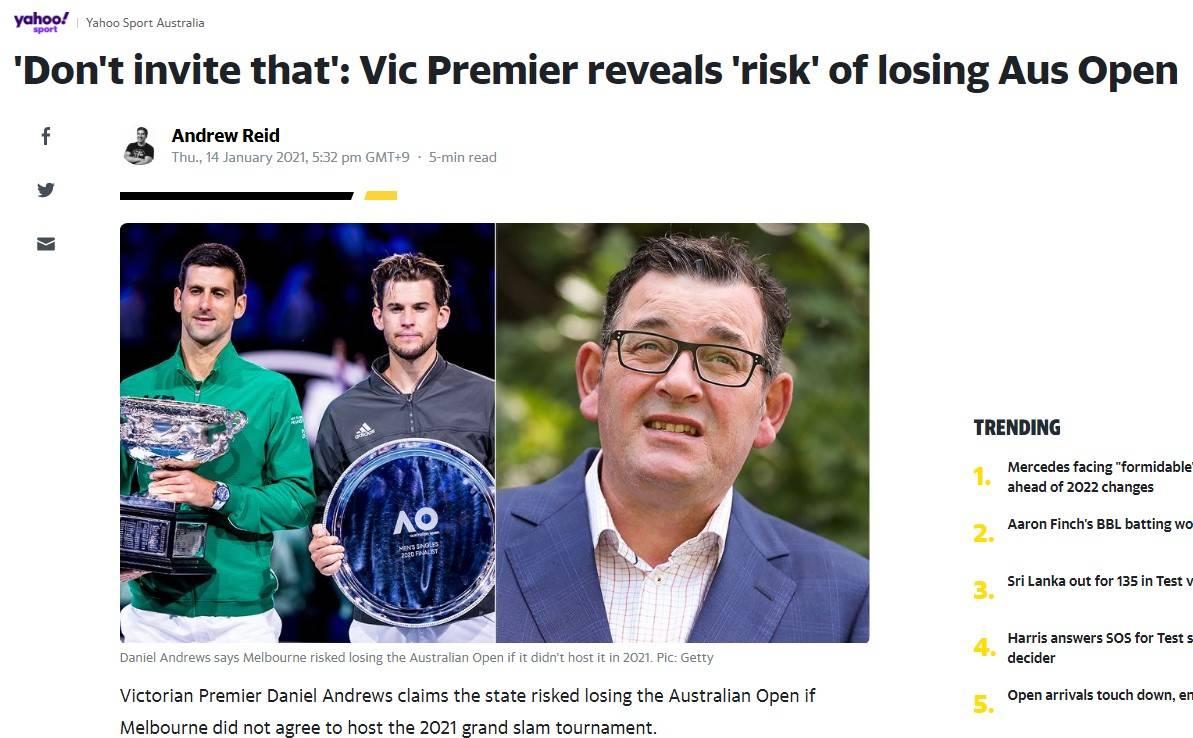 澳媒:阳性球员赴澳惹争议 顶疫情办赛怕失举办权