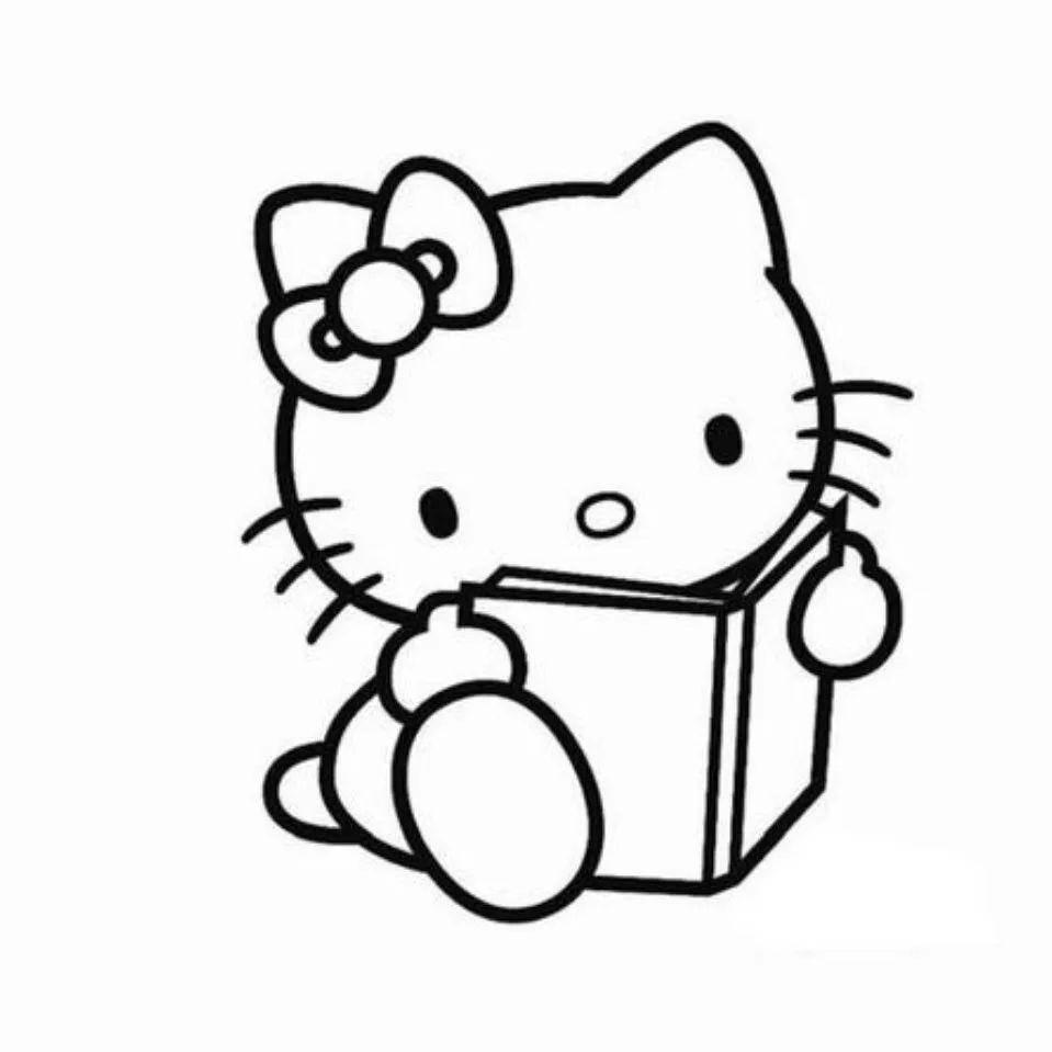 书简笔画图片 读书的kitty猫画法 育才简笔画