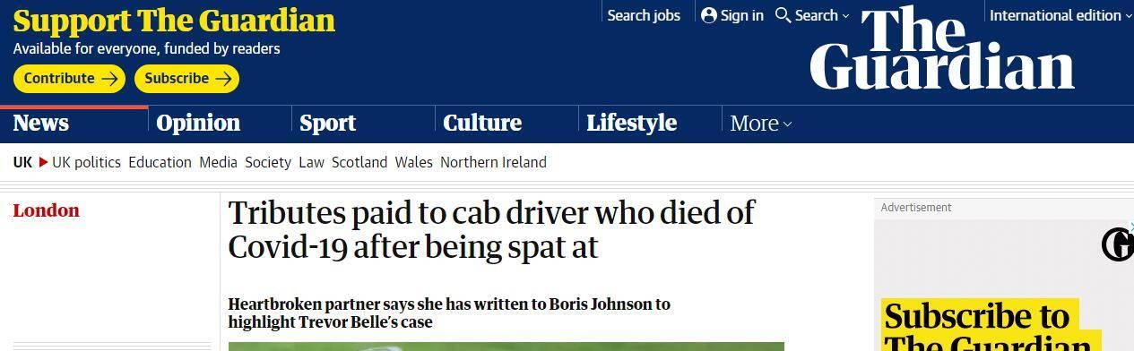 又一起!英国一出租司机被乘客拒付车费还被吐口水,感染新冠数周后去世_中欧新闻_欧洲中文网