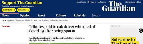 乘客拒付车费还吐口水,英国一出租车司机感染新冠后去世_中欧新闻_欧洲中文网