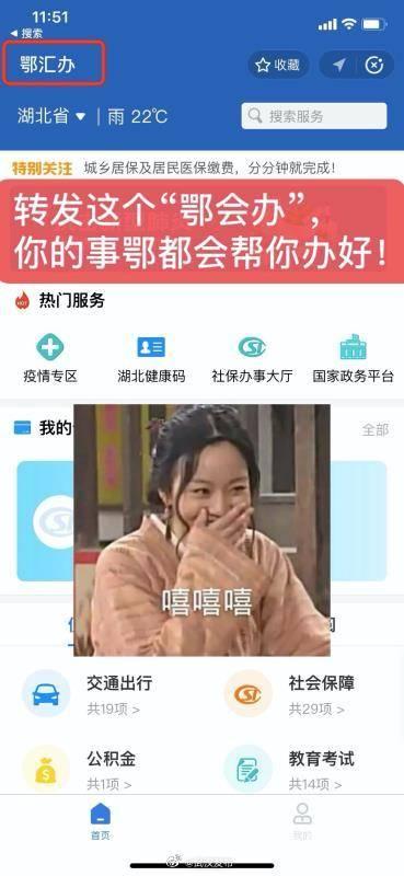 """当官方也开始玩谐音梗,咱湖北省的网上市民中心叫""""鄂汇办"""""""