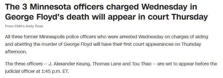"""快讯!""""跪杀""""弗洛伊德时同在现场的3名警员4日下午将"""