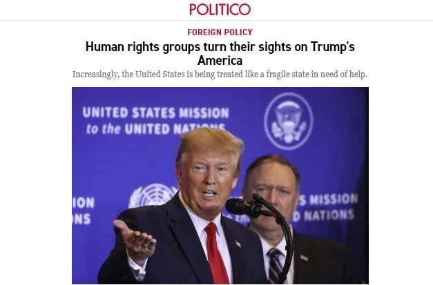"""被人权组织""""盯""""上 美媒:美国在人权问题上越来越被视为恶棍"""
