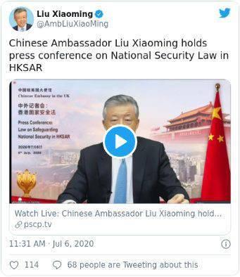 中国接连传来两则重磅消息!驻英大使警告英国不要干涉香港事务 中国驻加拿大使馆提醒近期谨慎前往加拿大