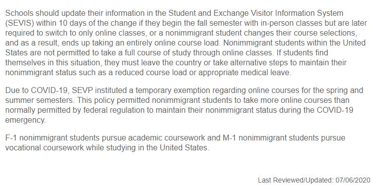 别慌!美国移民局出台国际学生签证新规,大学教学计划或会继续调整