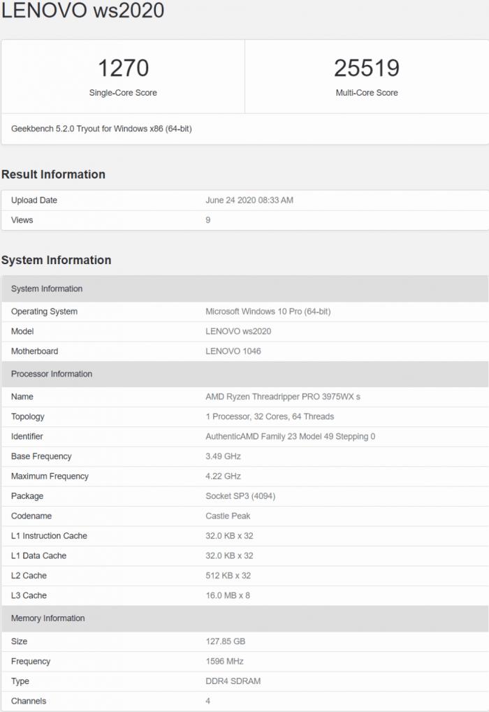 32核Ryzen Threadripper PRO 3975WX基准测试成绩曝光