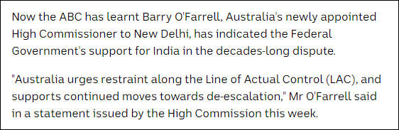 澳大利亚驻印大使向印度外交部表态,澳媒:在中印边境冲突中支持印度