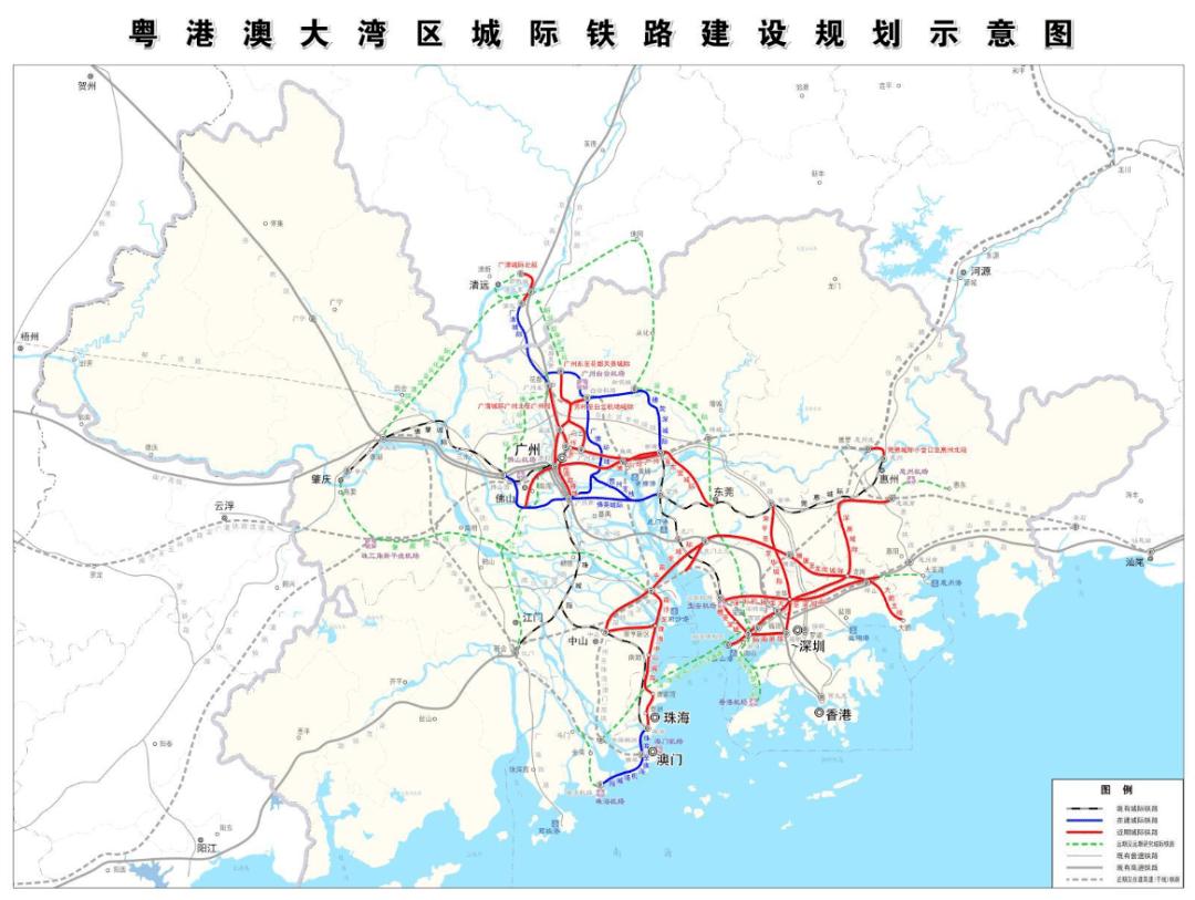 粤港澳大湾区城际铁路建设规划获批!近期规划13个城际铁路+5个枢纽工程