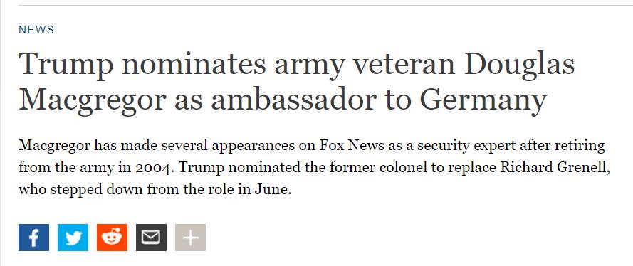 """特朗普又派了一个""""狠人""""当大使!_德国新闻_德国中文网"""