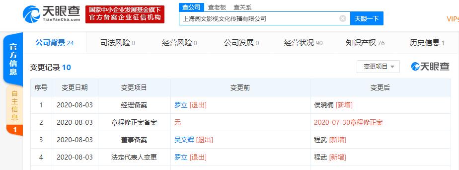 吴文辉退出上海阅文影视文化传播有限公司董事