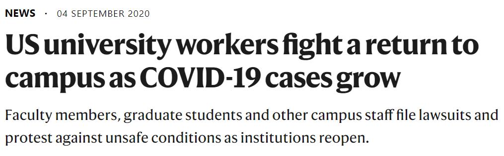 美国多所大学复课后被员工起诉,因数以千计学生与职工检出新冠阳性