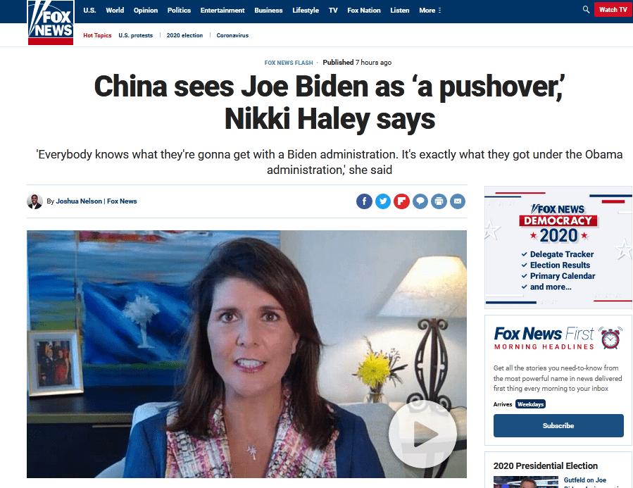 """美前驻联合国代表""""扛着中国""""维护特朗普:中国希望拜登赢,因为他""""好对付"""""""
