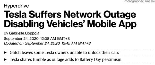 一天跌去2700亿!特斯拉系统遭遇全球性宕机!有车主被困在沙漠,苦打两小时救援电话