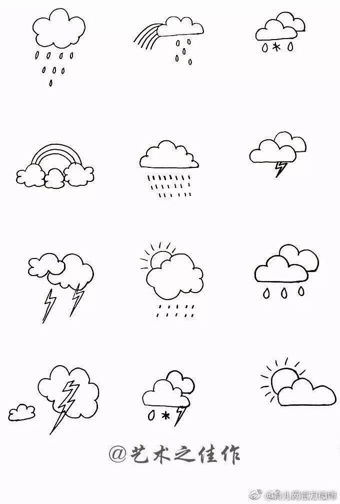 天气小素描简笔画,教孩子画起来吧