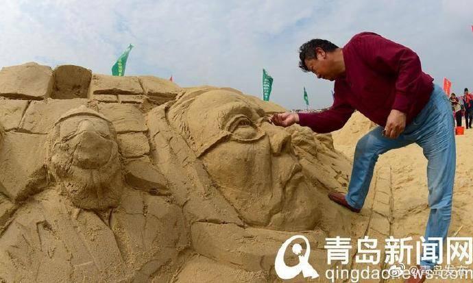 青岛国际沙滩节聚焦战疫 沙雕作品《钟南山》等精彩纷呈
