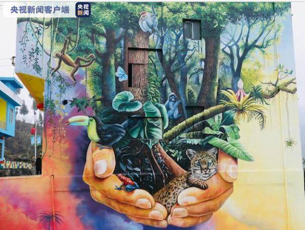"""【决胜2020】贵州沿河""""高峰""""上的3D壁画""""网红村"""" 民房围墙作画布"""