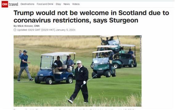 """特朗普被曝""""卸任前一天飞苏格兰""""后,苏格兰政府首席大臣:鉴于防疫限制,不允许"""