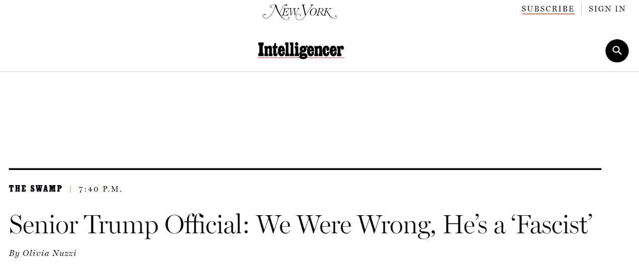 """美媒刊文:特朗普政府高级官员说,""""我们错了,他是'法西斯'"""""""