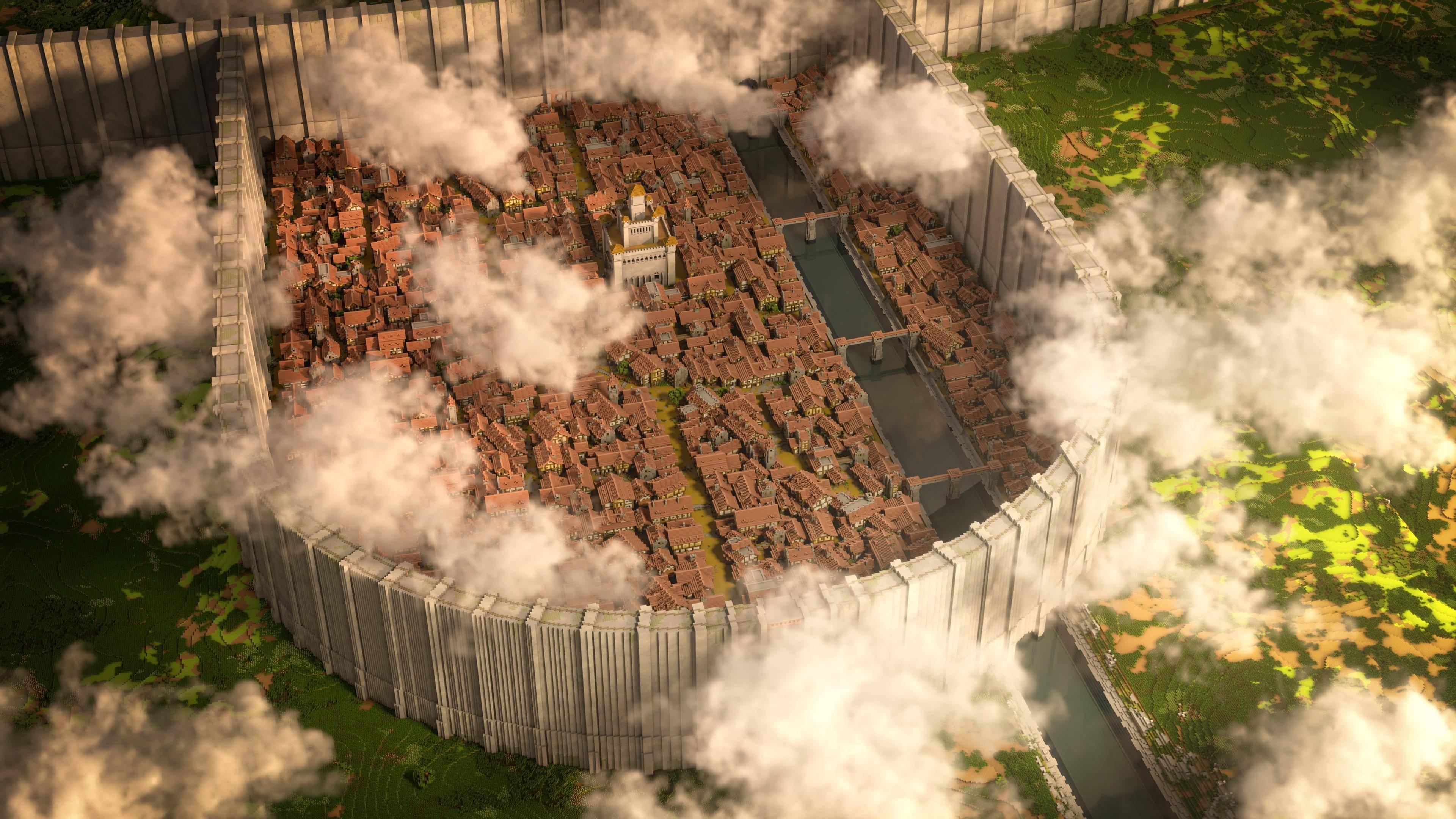 玩家在《我的世界》神还原《进击的巨人》希干希纳区_建筑
