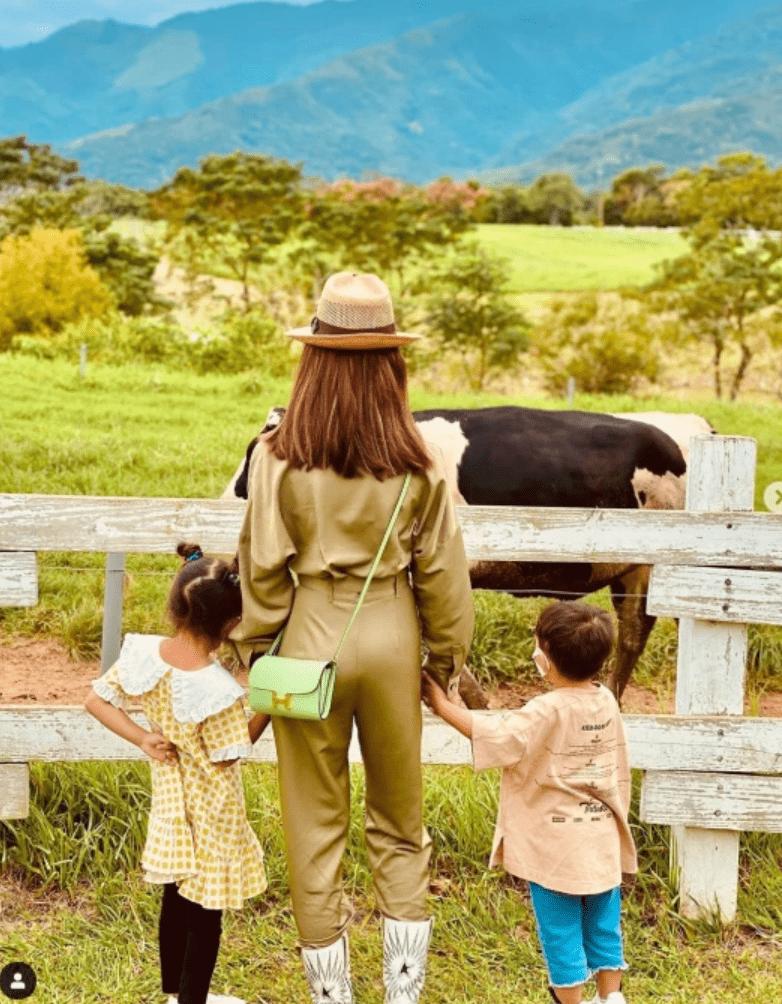 昆凌牵儿女看奶牛背影超温馨 周杰伦转发语亮了!