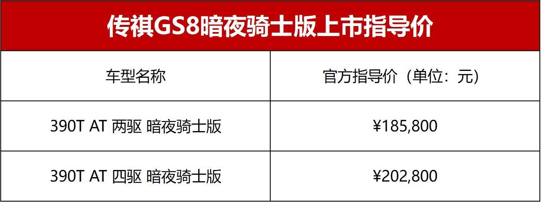 传祺GS8暗夜骑士版上市 两个版本的售价不变-亚博棋牌官网