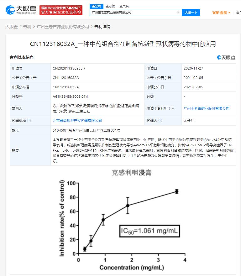 王老吉药业戳穿中药抗新冠专利:对发热咳嗽等症状缓解率较高